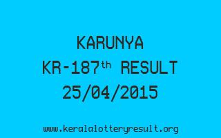 Karunya KR 187 Lottery Result 25-4-2015