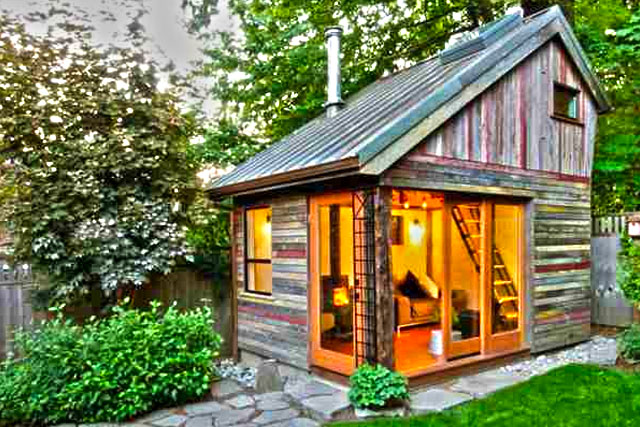 rustic backyard micro house tiny house lifestyle small space