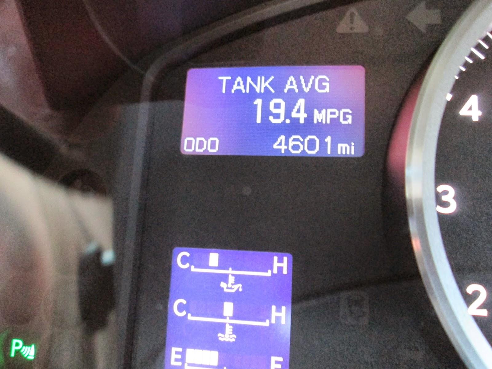 2014 Lexus IS-F fuel economy reading
