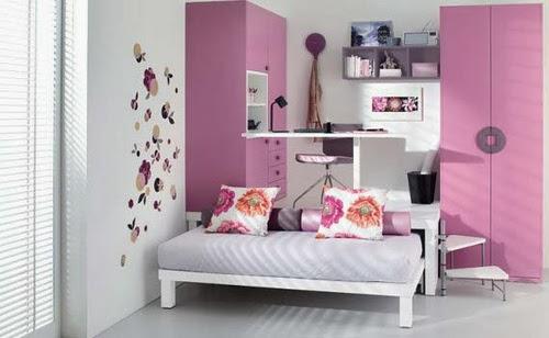Desain kamar tidur anak perempuan pink