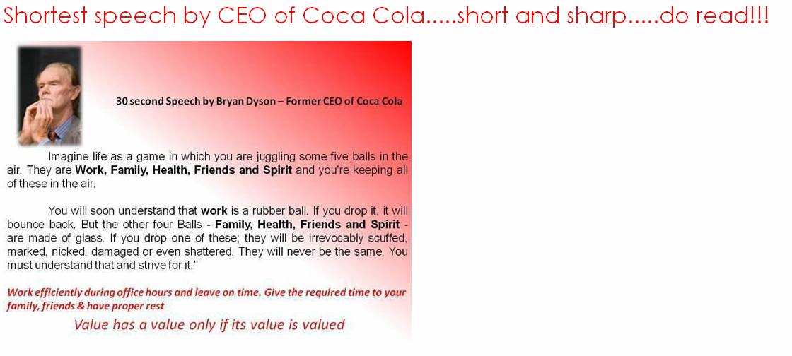 speech on coca cola Brian j dyson businessman, former ceo of coca-cola enterprises nothing is really over until the moment you stop trying   top 10 speeches.