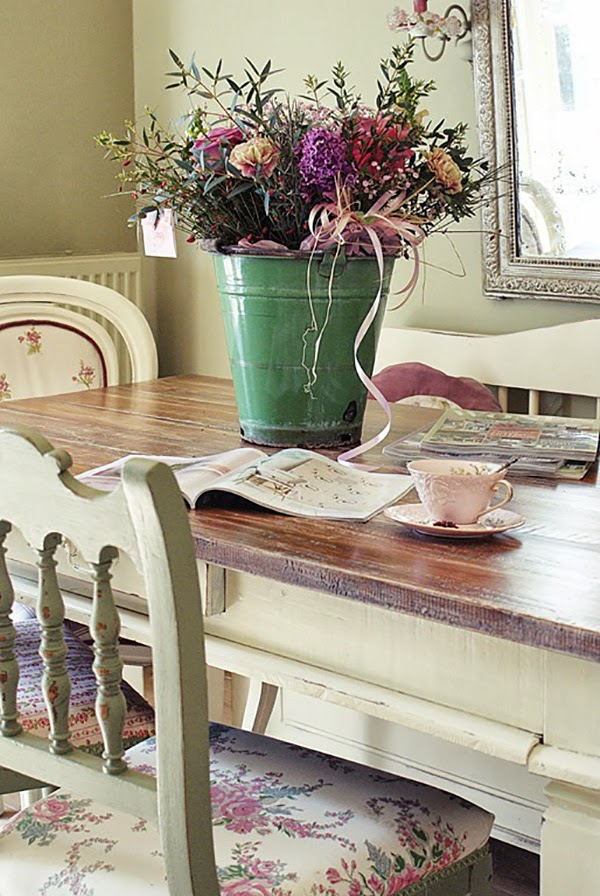 Pink and Lilac Shabby Chic A Bucket of Flowers on the dining table