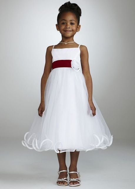 Flower Girl Dresses - David's Bridal Flower Girl Spaghetti Strap Tea Length Ball Gown