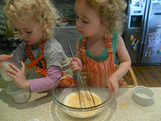 Whisking the egg mixture for french toast kebabs recipe
