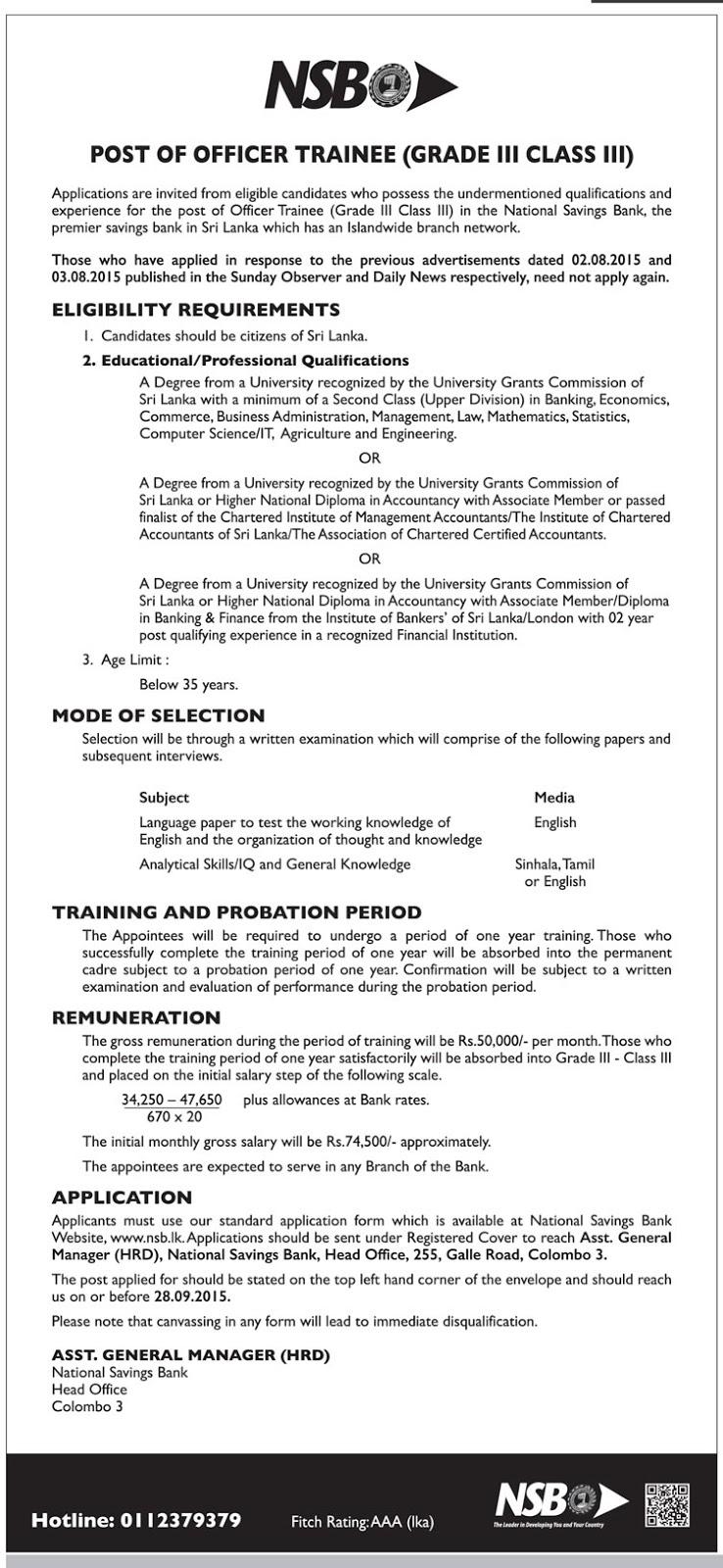 sri lanka vacancies latest vacancies career opportunities officer trainee nsb