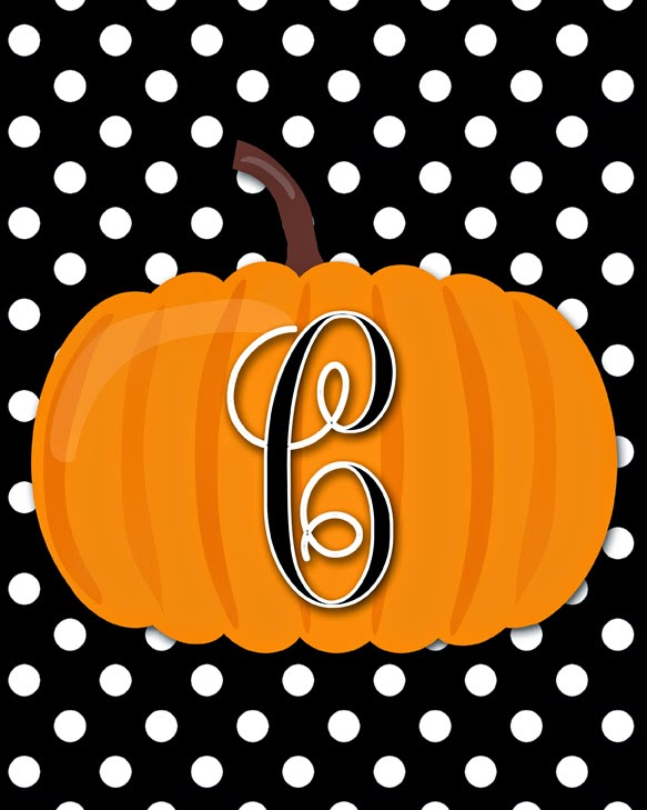 Free Monogram Pumpkin Printables | A-Z Available | 8x10 | Instant Downloads