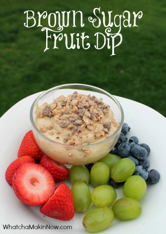 Brown Sugar Dip topped with Heath candy - perfect with fruit and vanilla wafers!