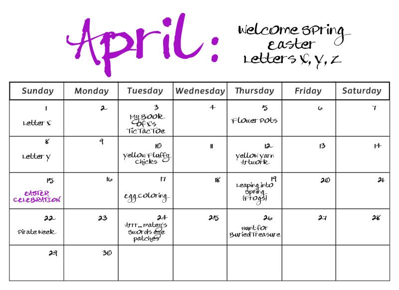April Calendar S Kindergarten : Smarty pants preschool monthly calendars