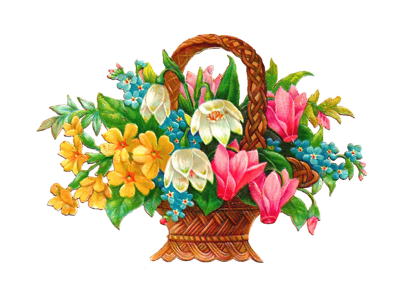 Images Of Flower Baskets : Antique images free flower basket clip art wicket