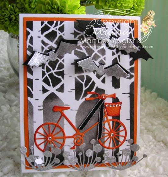 halloween bicycle stencil front card
