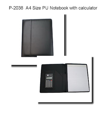 "CENTRUM LINK - ""BLACK PU LEATHER A4 Size EXEC FOLDER With Calculator"" - P-2038"