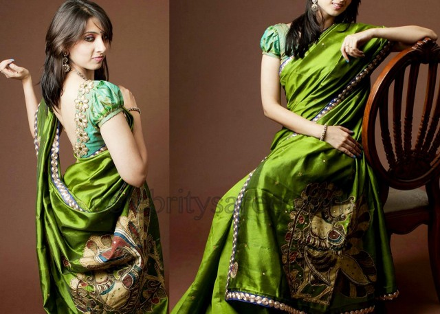 Silk Saree Blouse with Puffed Sleeves - Saree Blouse Patterns