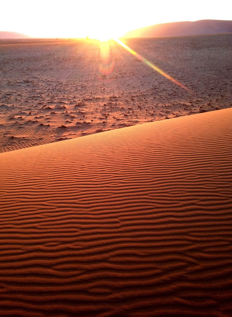 Sunrise catching wavy dunes in Sossusvlei