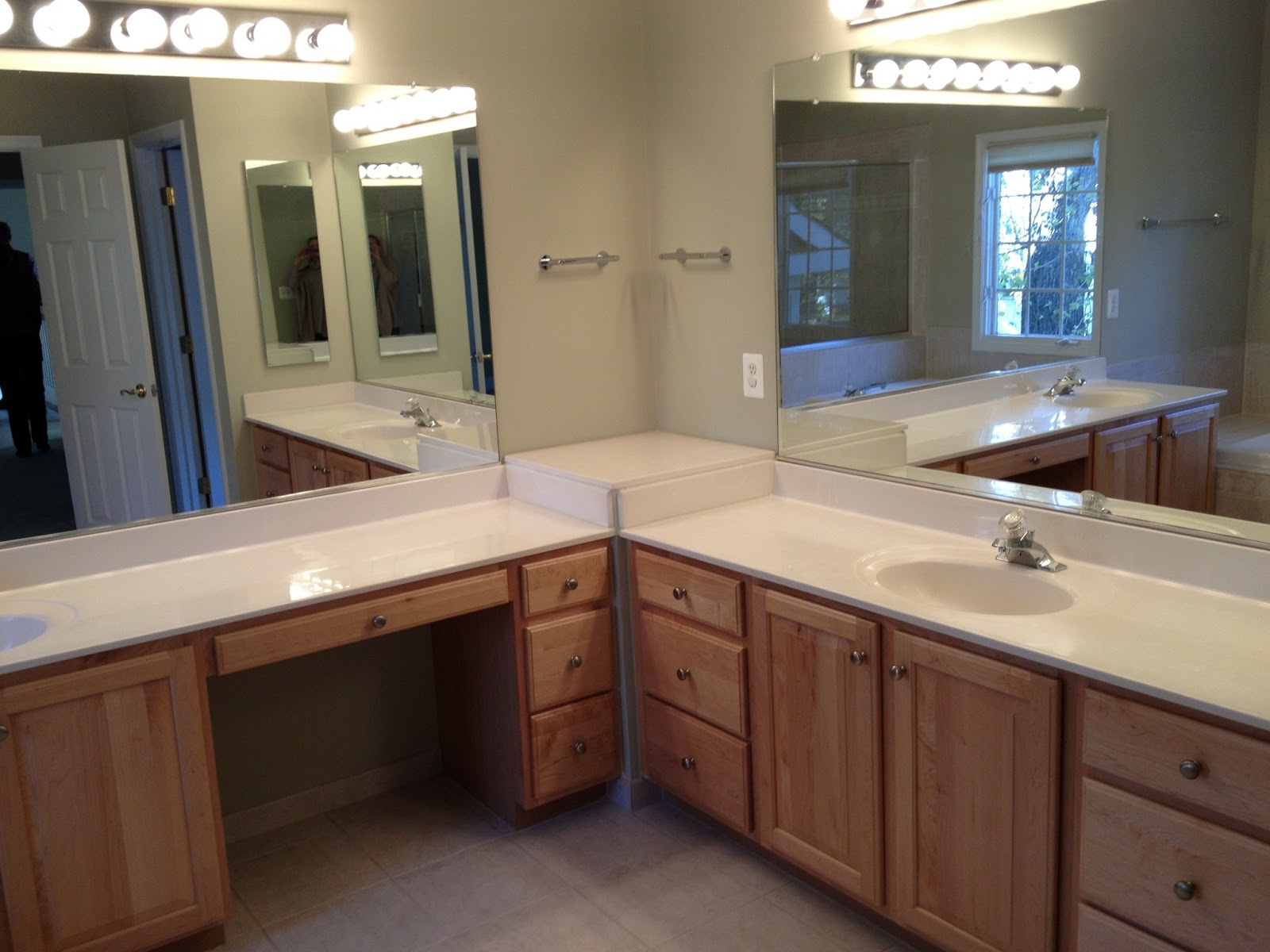 Our clients 39 home before after for L shaped double sink bathroom vanity
