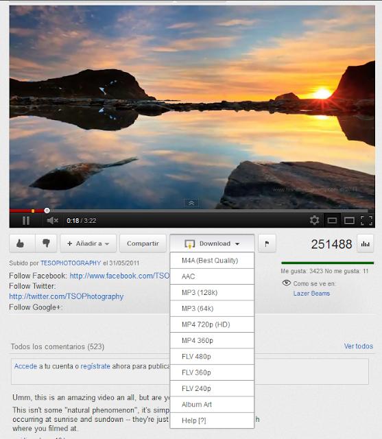 Descarga música y videos en Youtube desde firefox