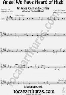 Partitura de para Trompa y Corno en Mi bemol Canción de Navidad Carol Song for Christmas Sheet Music for French Horn Music Scores