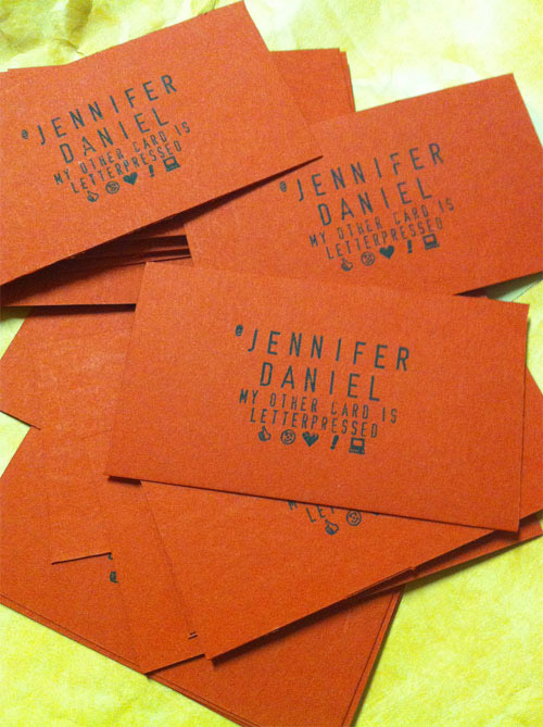 Cartões de visita criativos - Jennifer Daniel