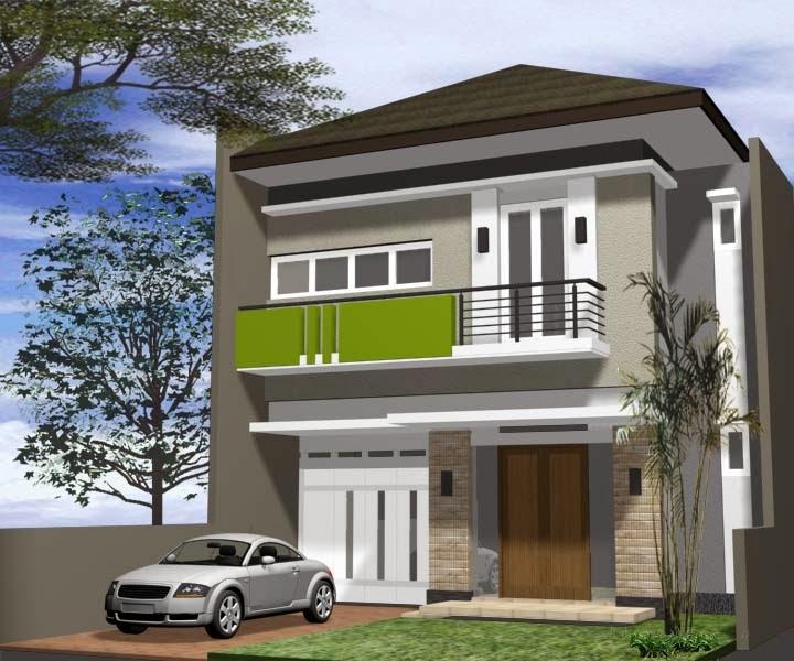 contoh model cat rumah minimalis lantai 2 hijau
