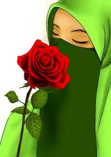 Gambar kartun muslimah bercadar lagi sedih
