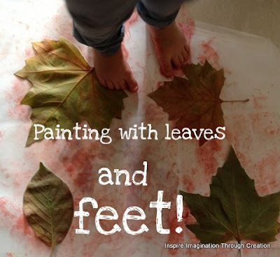 Painting with leaves and feet