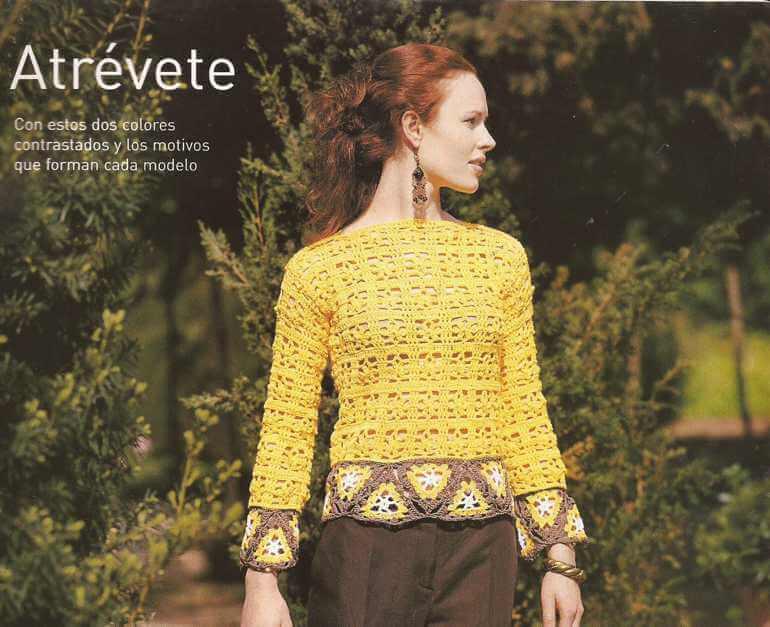 Jersey o Blusa con Triángulos a Crochet
