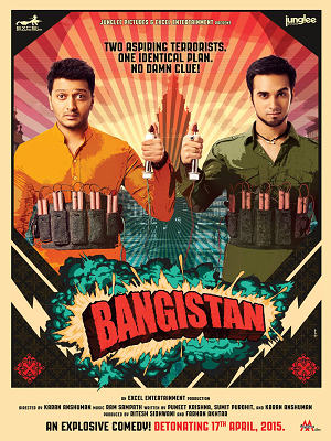 Bangistan 2015 130mb DVDRip HEVC Mobile Movie hindi mobie bollywood movie dvd rip compressed small size mobile movie free download at world4ufree.cc