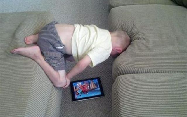 kids sleeping with tabs and phones