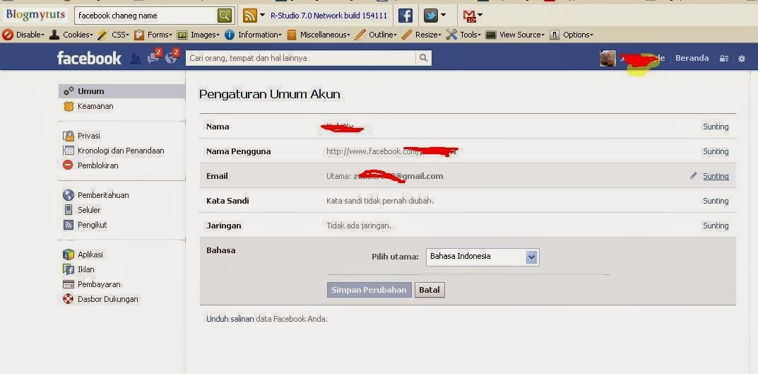 How to Change Facebook Single Name Only - blogmytuts