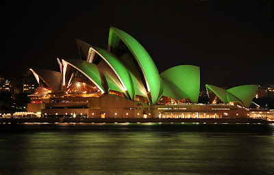 Sydney Opera House Green Light On The Night
