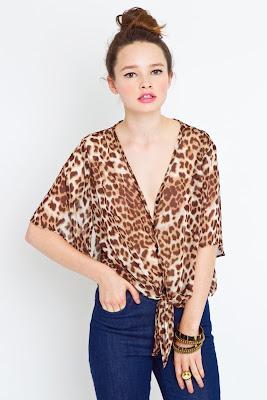 Leopard Tie Blouse