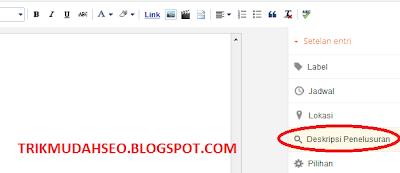 gunakan dekripsi penelusuran untuk menambah meta description pada tiap artikel