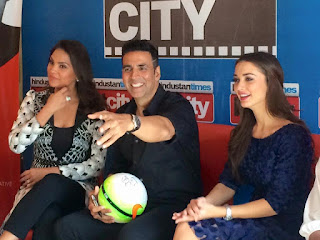 Akshay Kumar, ‎Lara Dutta‬ and ‪‎AmyJackson‬ at HT City