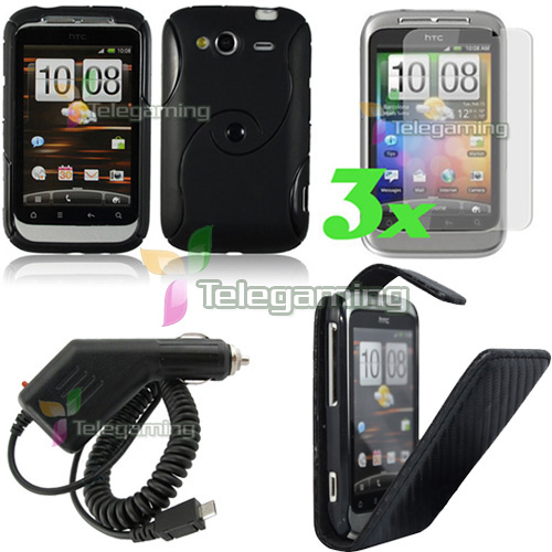 BLACK LEATHER+GEL CASE+CAR CHARGER+G FOR HTC Wildfire S