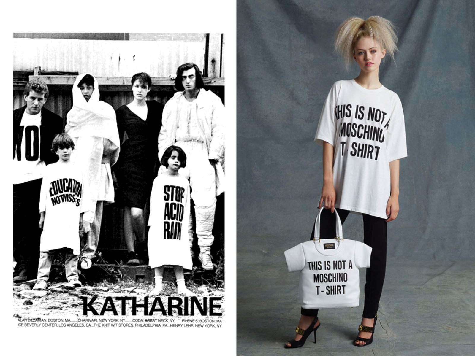 Into The Fashion Inspiration Katharine Hamnett Statement T Shirts Jeremy Scott For Moschino