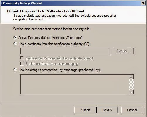 Default Response Rule Authentication Method