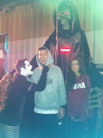 A.J. McCarron and Katherine Webb visited a haunted house Monday evening.