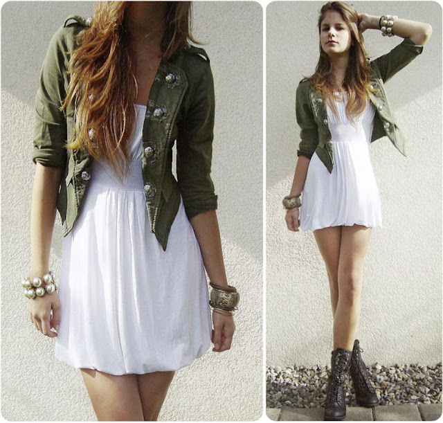 White short gown, military jacket and combat boots