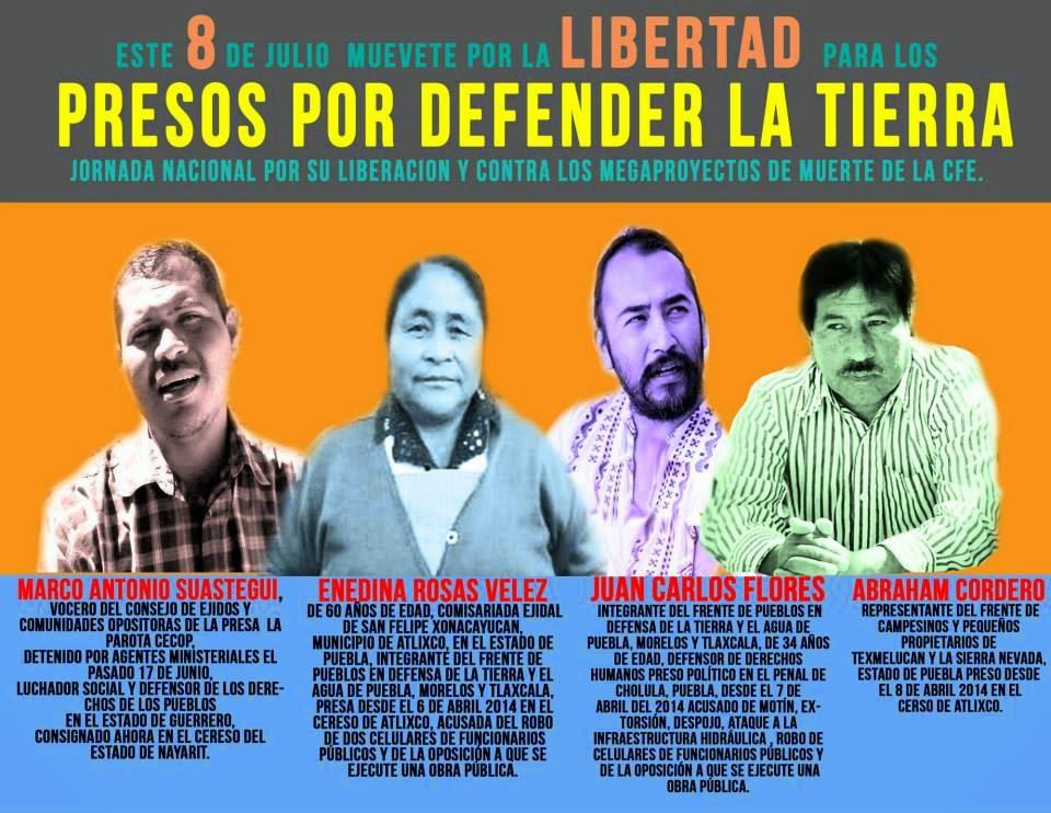 8 de Julio de 2014 MOVILIZACIONES NACIONALES EN MÉXICO DENUNCIANDO PRESOS POLÍTICOS POR LA DEFENSA