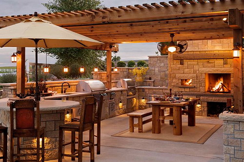 Wooden Outdoor Kitchens ~ Various types of great outdoor kitchen roof ideas home