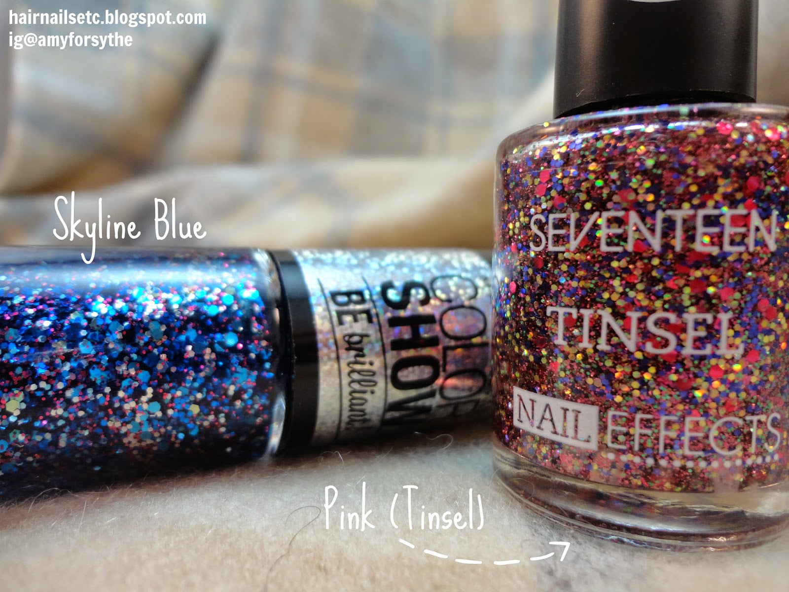Boots UK Beauty Haul - Maybelline Be Brilliant Nail Polish in Skyline Blue, Seventeen Tinsel Nail Effects Pink