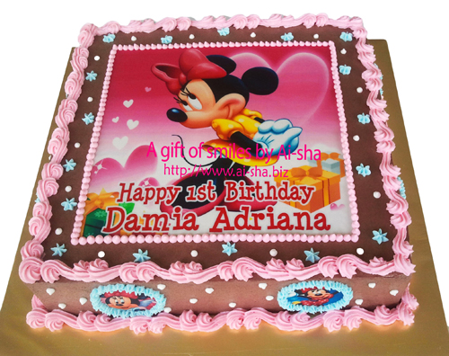 Birthday Cake Edible Image Minnie Mouse Ai-sha Puchong Jaya