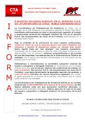 A NUESTRO DELEGADO SINDICAL EN EL SERVICIO O.R.A. DEL AYUNTAMIENTO DE JEREZ: NUNCA CAMINARÁS SOLO