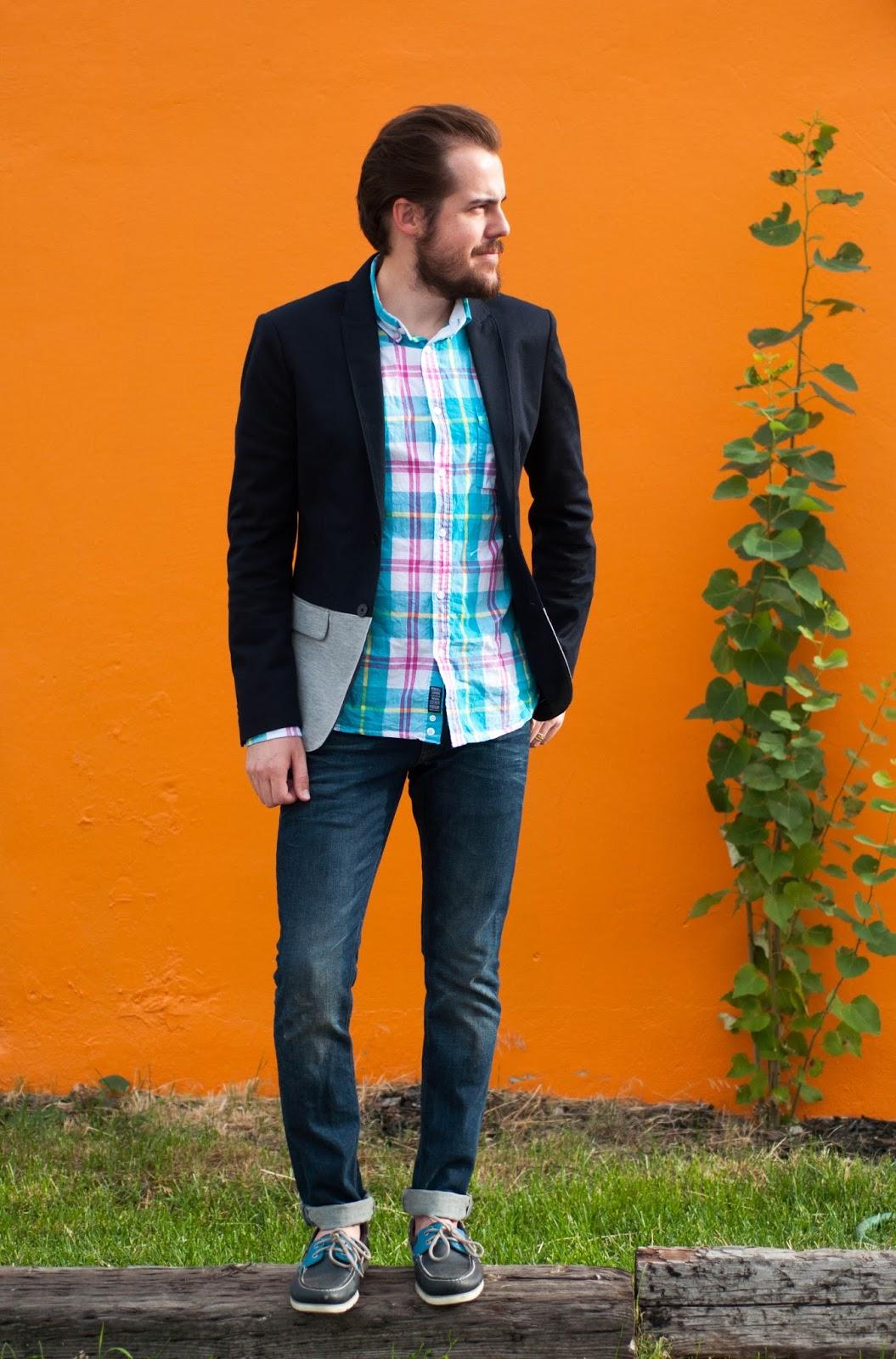 mens fashion, mens styles, all saints cigarette jeans, pennfield shirt, zara man, zara blazer, ootd