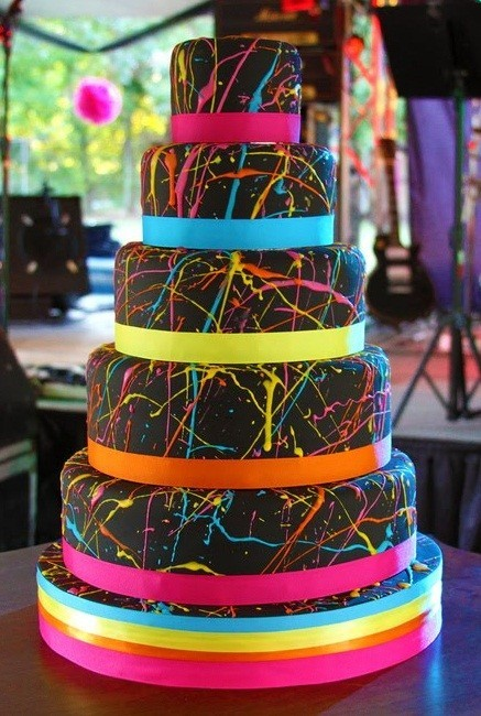 Chocolate Neon Birthday Cake Pixels Thoughts Words