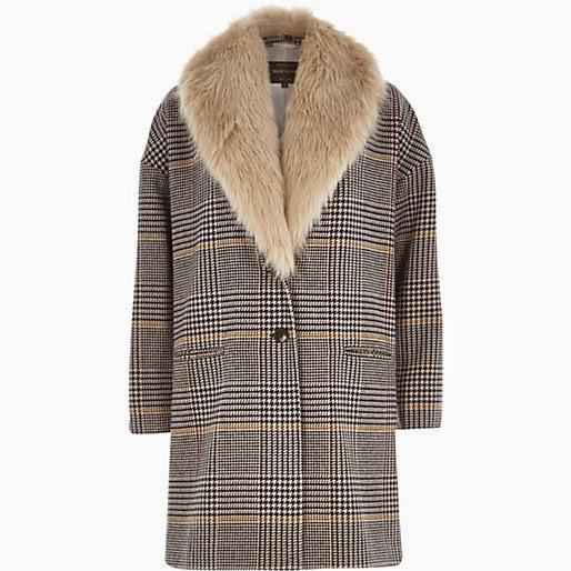 river island check coat, fur collar coat,