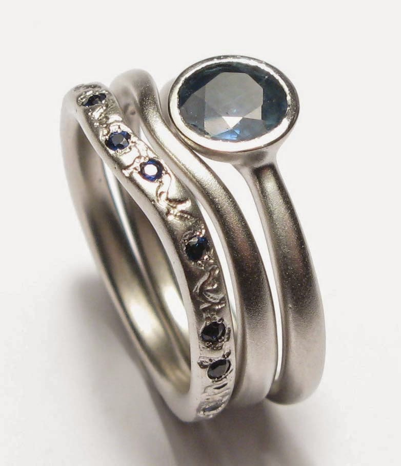 Trio Matching Wedding Ring Sets Blue Diamond Design pictures hd