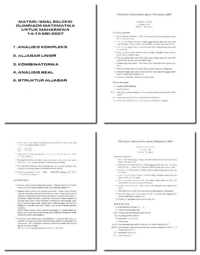 Pusatnya Download Soal Gratis Soal Seleksi Olimpiade Matematika Mahasiswa 2007