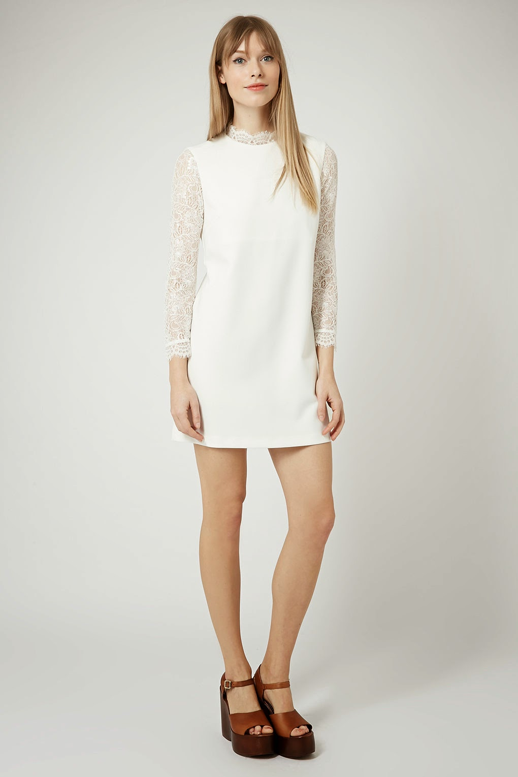 high neck white dress,