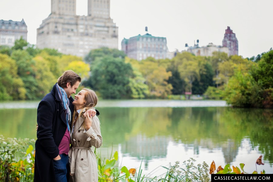 Lifestyle Engagement Session, The Lake in October with fall colors, Central Park NYC - www.cassiecastellaw.com