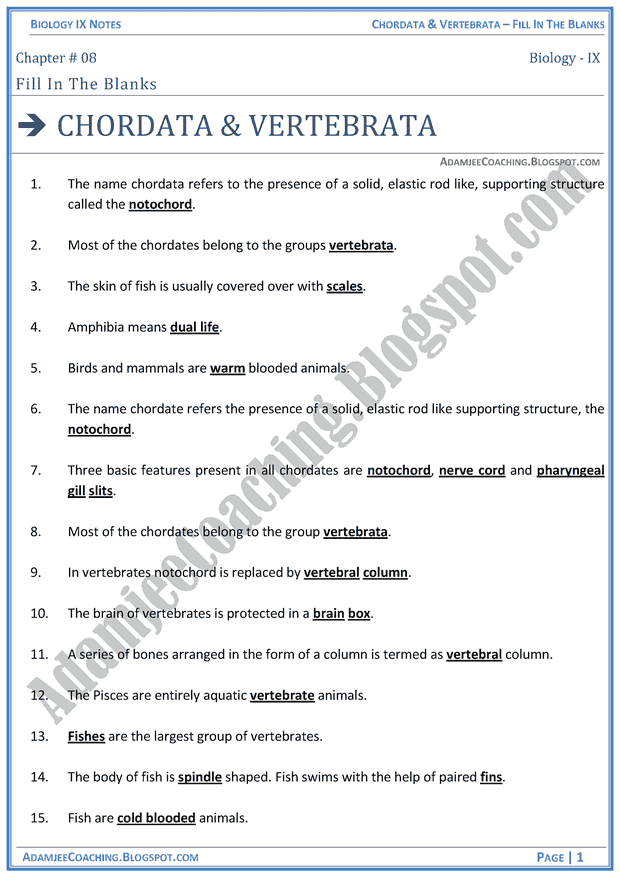 chordata-and-vertebrata-fill-in-the-blanks-biology-notes-for-class-9th